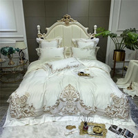 Luxury White European Palace Bedding Set 1000TC Egyptian Cotton Gold Embroidery Duvet Cover Bed Linen Fitted Sheet Pillowcases