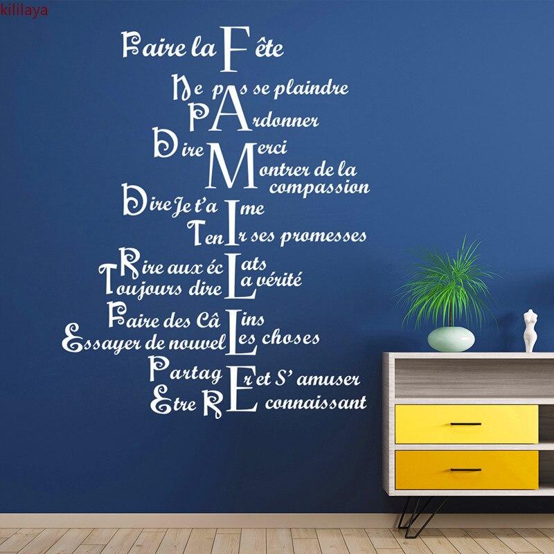 Kililaya adesivo de parede para família, padrão francês, citação, para sala de estar, decoração de casa, acessórios de decoração