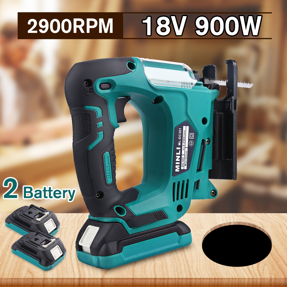 Drillpro 900W Cordless Jig Saw Portable Multi-Function Electric Saw Blades Metal Wood Metal Jigsaw Power Tool with Li-Ion Batter