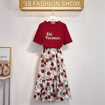 2020 New Summer Women's Letter Printing Loose Tshirt + Elastic waist Flower Printing Long Skirt Two Piece Students Skirt Set 1