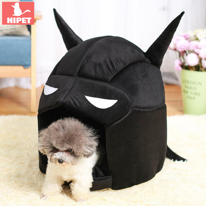 Batman Cat House Dog Bed Winter Warm Cotton Wateproof Bottom Cartoon Shape Teddy Puppy Kennel Pet Bed House Cats Nest image