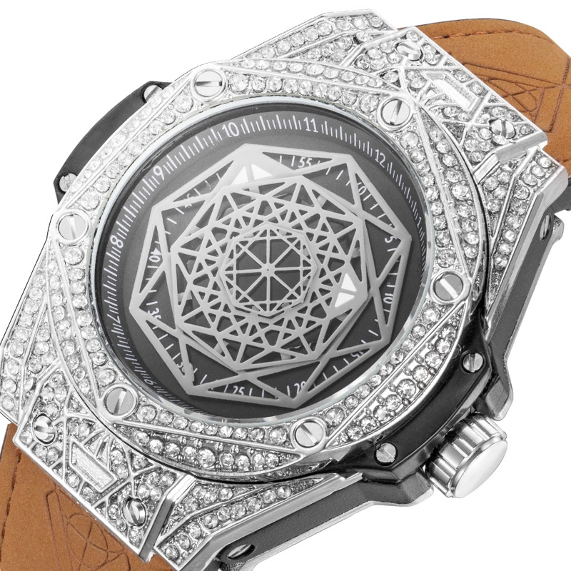 ICE-Out Bling Diamond Watch For Men Women Hip Hop Iced Out Watch Men Quartz Watches Stainless Steel Dial Leather Wristwatch Man
