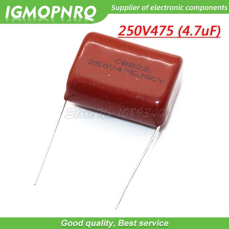 10PCS 250V475J Pitch 25MM 250V 4.7UF 475 4700PF CBB 250V475J-P25 Polypropylene Film Capacitor