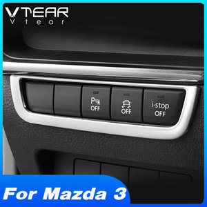 Vtear For Mazda 3 2020 2019 Accessories ABS Chrome Headlight Button Switch Decoration Frame Cover Interior Mouldings Sticker