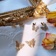 Stadniny kolczyki dla kobiet wykwintne lśniące cyrkonie kolczyki modne oświetlenie luksusowe małe motylkowe kolczyki biżuteria hurtowych tanie tanio FIRST NOBLE CN (pochodzenie) 14K złoto wypełnione Kobiety Brak TRENDY GEOMETRIC Party NJQSIC