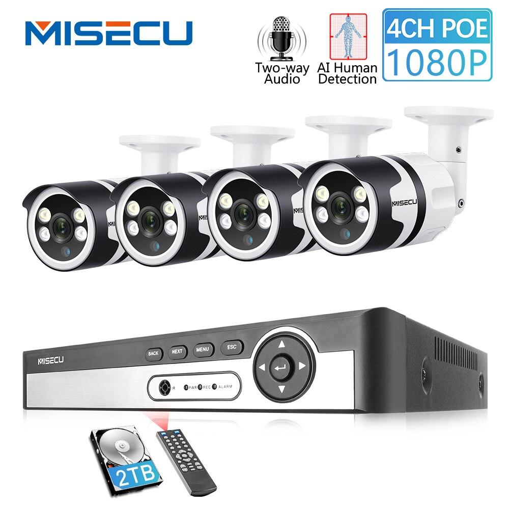 MISECU H.265 4CH 1080P POE CCTV Sistema de Câmera De Segurança De Detecção de AI Humano em Dois Sentidos de Áudio de Vigilância de Vídeo Ao Ar Livre À Prova D' Água