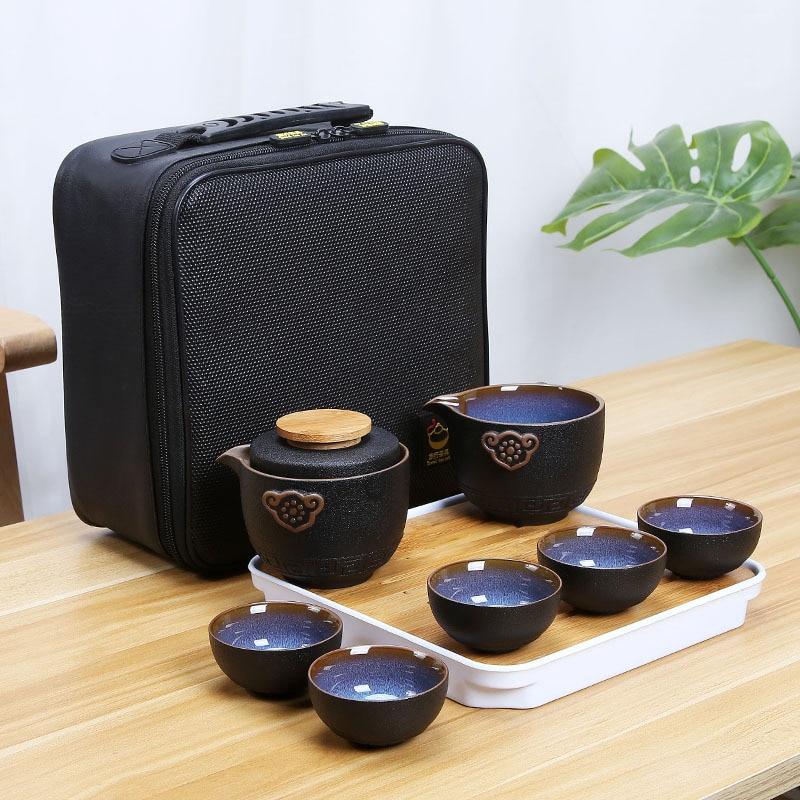 Китайский чайный сервиз Кунг фу для путешествий, керамический портативный чайный сервиз, чайные чашки Gaiwan, чайная церемония, чайная чашка, уличная Питьевая Посуда Цзиндэчжэнь|Наборы чайной посуды|   | АлиЭкспресс