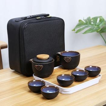 Chinese Kung Fu Travel Tea Set Ceramic Portable Teapot Set Gaiwan Tea Cups of Tea Ceremony Teacup Outdoor Drinking Jingdezhen недорого