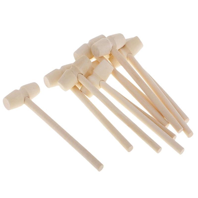 Novo 10 peças mini martelo de madeira bolas brinquedo pounder substituição madeira maletes bebê 140x43x19mm venda quente
