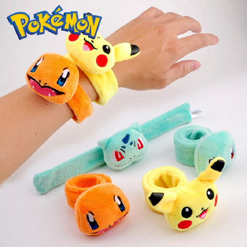TAKARA TOMY Pokemon Stuffed Pikachu Charmander Squirtle Bulbasaur Plush Doll Toys Pokemon Anime Cartoon Plush Bracelet Kid  Toy