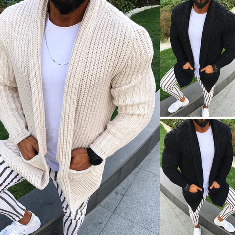 Men Warm Sweater Coat Casual Pocket Autumn Streetwear Slim Warm Knitted Cardigan Sweater Winter Fashion Solid Overcoat Plus Size