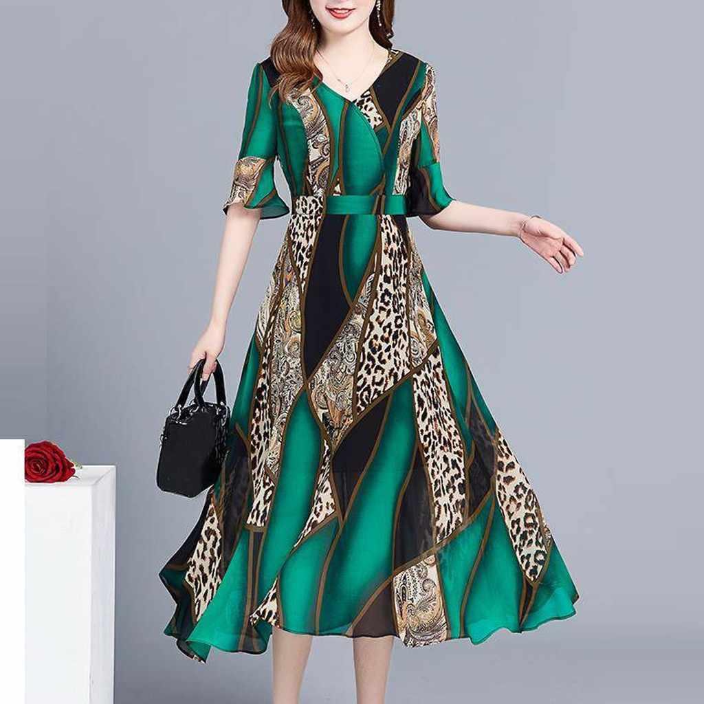 #40 женское платье 2019 модные летние платья женское платье плюс размер v-образный вырез до колена короткий рукав Леопардовый принт платья