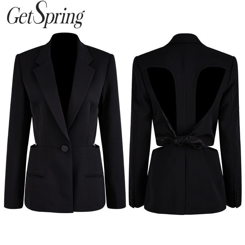 GetSpring Women Blazer Single Button Long Sleeve Women's Slim Suit Jacket Backless Hollow Out Sexy Ladies Black Blazer Coat 2019