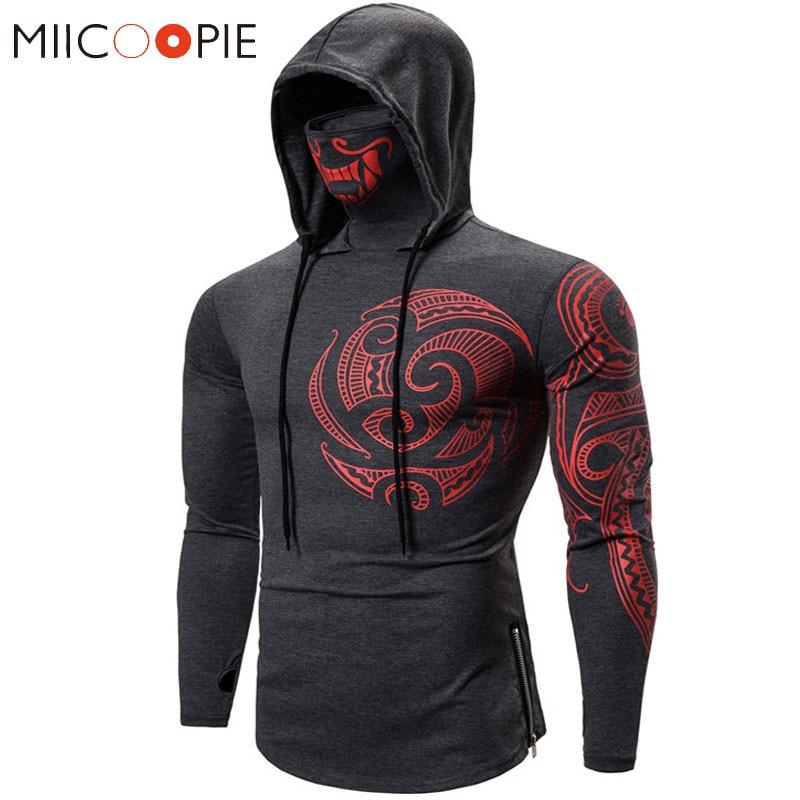 Men Trend With Mask Hood Sweatshirt Elastic Fitness Tattoo Print Hooded Sweat Homme Mens Hip Hop Sudadera Ninja Suit Streetwear