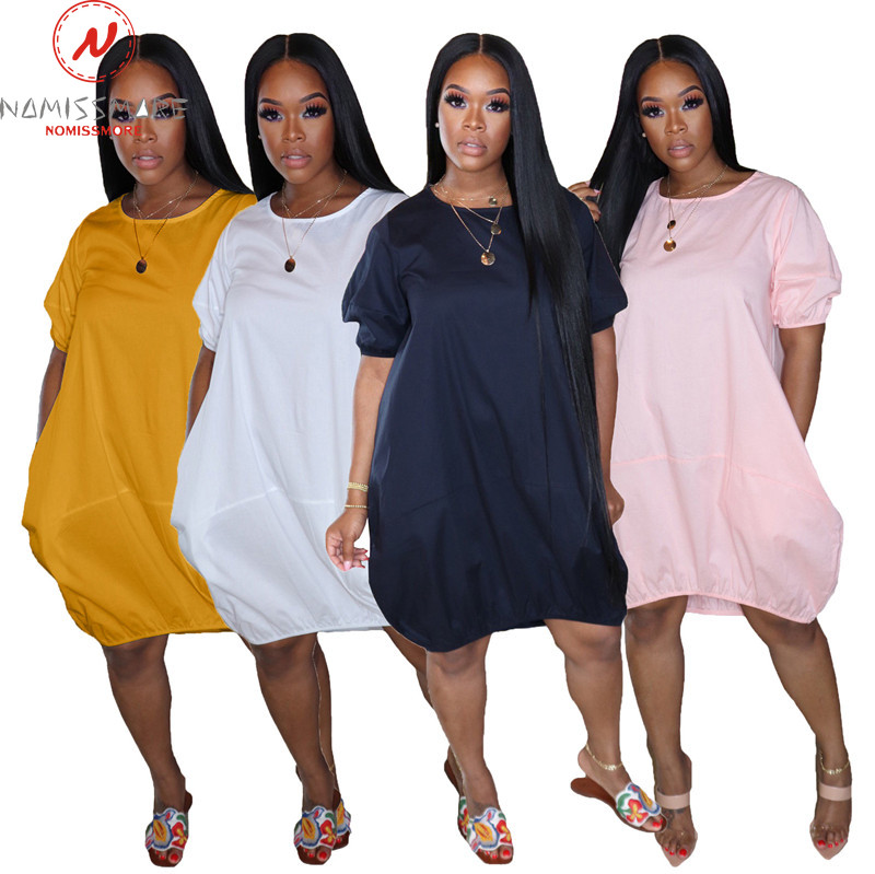 Fashion women Summer Solid Color Casual Loose Dress Irregular Design O-Neck Lantern Sleeve High Waist Pullovers Dress