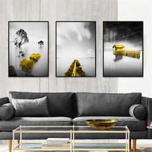 Abstract Yellow Bridge Forest Landscape Canvas Poster Wall Living Room Home Art Decor(China)