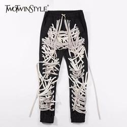 Женские брюки TWOTWINSTYLE, повседневные обтягивающие брюки с высокой талией, в стиле пэчворк, для лета, 2020
