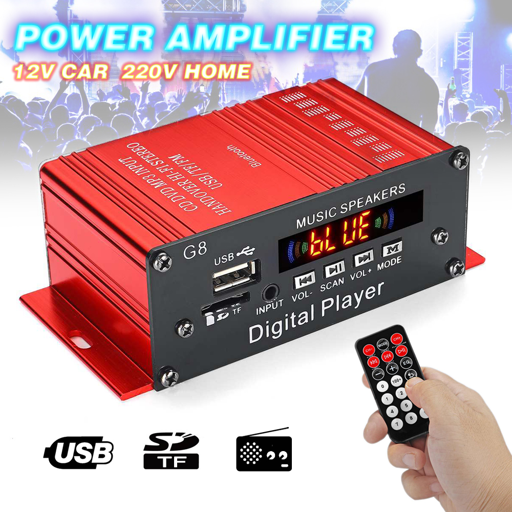 <font><b>200W</b></font> 12V Audio <font><b>Amplifier</b></font> <font><b>HIFI</b></font> Audio Power <font><b>Amplifier</b></font> Bluetooth FM Radio Power <font><b>Amplifier</b></font> With Remote Control For Car Music image