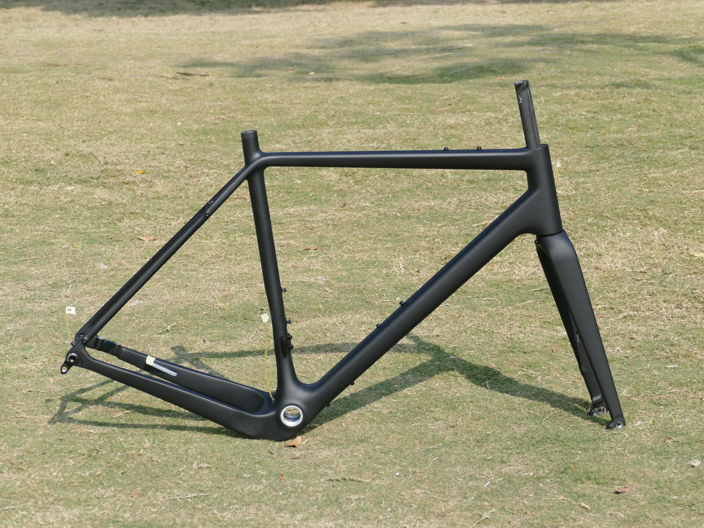 FR-3 carbono completo ud fosco bicicleta de cascalho através do eixo quadro plana montagem garfo de freio a disco 49cm , 52cm, 54cm , 56cm , 58cm ,61cm