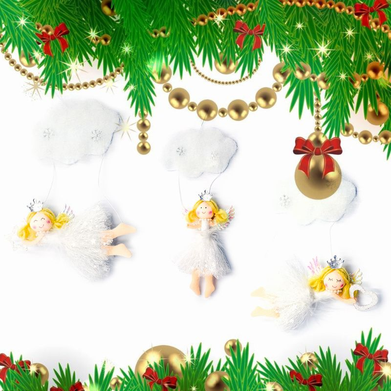 3pcs set Christmas Party Hanging Decor Snowflake Cloud Angel Xmas Tree Pendant Festival Ornaments Crafts in Pendant Drop Ornaments from Home Garden