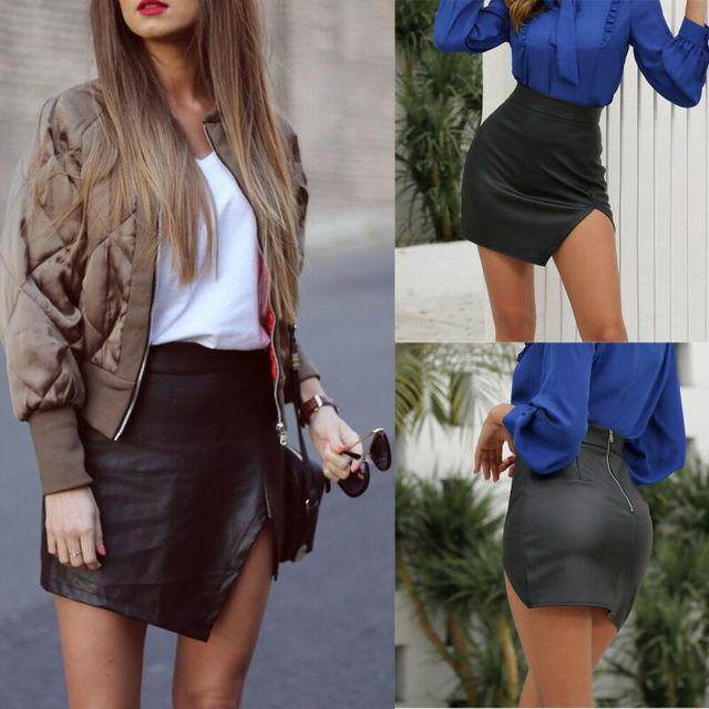 New Fashion Women PU Leather Bodycon Skirt Ladies Party Mini Evening Prom Clubwear Split Formal Streetwear Pure Color Skirts