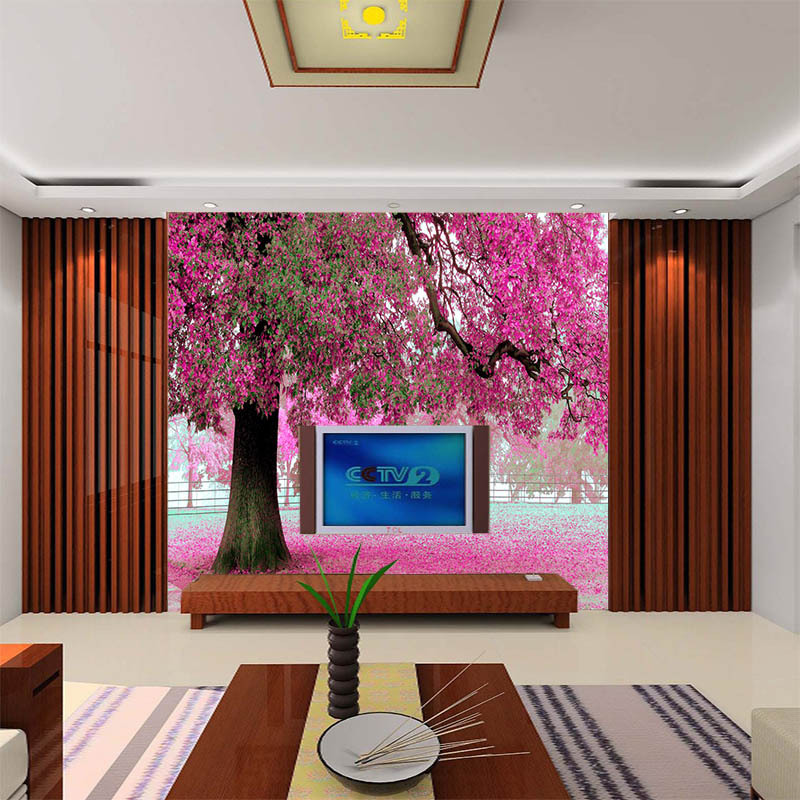 Large Mural TV Backdrop Cloth Bedroom Living Room Wallpaper 3D Seamless Forest Trees Stereo Scenery Wallpaper