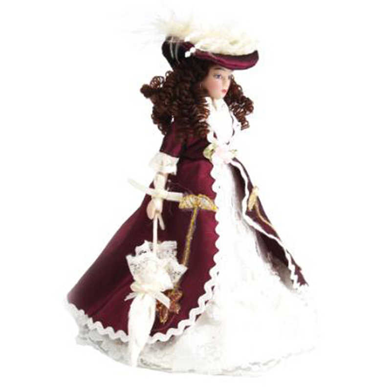 ขายร้อน 1:12 Dollhouse Miniature ตุ๊กตา Dollhouse Victorian Beauty Lady