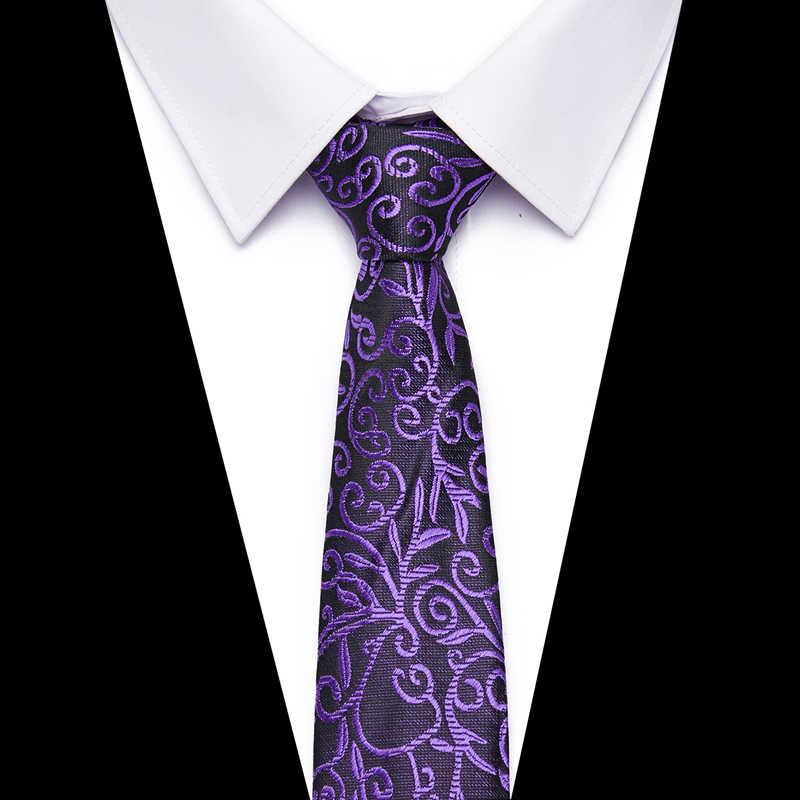 패션 보라색 넥타이 남자 폴리 에스터 자카드 레드 넥타이 웨딩 비즈니스 정장 7.5cm 스키니 와이드 넥타이 슬림 Gravatas