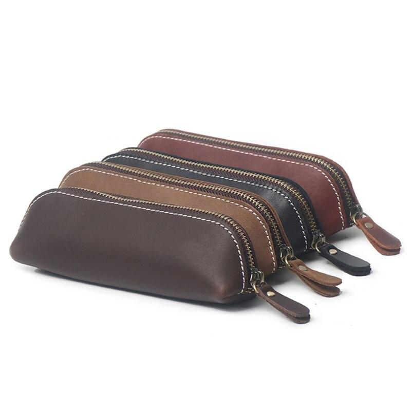 1pc Leather Pencil Bag Vintage Retro Style Zipper Pen Pencil Case School Bag Glasses Case Office School Stationery Random Sent