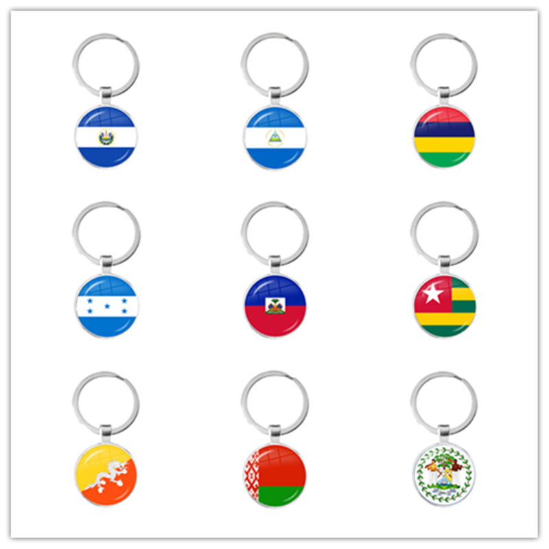 National Flag Glass Cabochon Keychain Sardova,Nicaragua,Mauritius,Honduras,Haiti,Togo,Bhutan, Belarus, Belize Keyring Keyholde