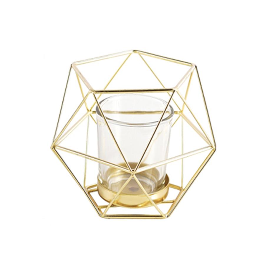 Décoration nordique pour la maison décoration De mariage chandeliers décoration en acier centre De Mesa bougeoir géométrique lanterne en métal AZT008