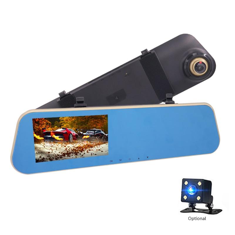 Автомобильный видеорегистратор Full HD 1080P, Автомобильное зеркало заднего вида 4,3 дюйма, цифровой видеорегистратор с двумя объективами, Регист...