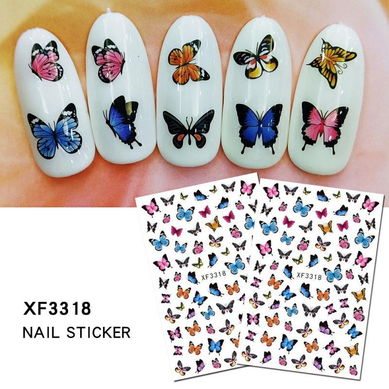 наклейки для ногтей Животное растение переводная вода стикер для дизайна ногтей Бабочка ногти маникюр Клей деколь декорации дизайн наклей...