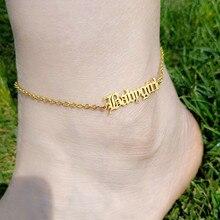 Anklets Gold Letter Jewelry Women Baby-Girl Enkelbandjes Chian Gift English-Font Graduation