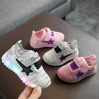 Spring Autumn Children Casual Shoes Toddler Infant Flag Baby Girls Boys Breathable LED Luminous Sport Shoes Sneakers Kids Shoes