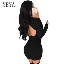 купить YEYA Elegant Drawstring Dress Sexy Bodycon Autumn Long Sleeve O Neck Dress Sexy Open Back Femme Hollow Out Party Mini Dresses дешево