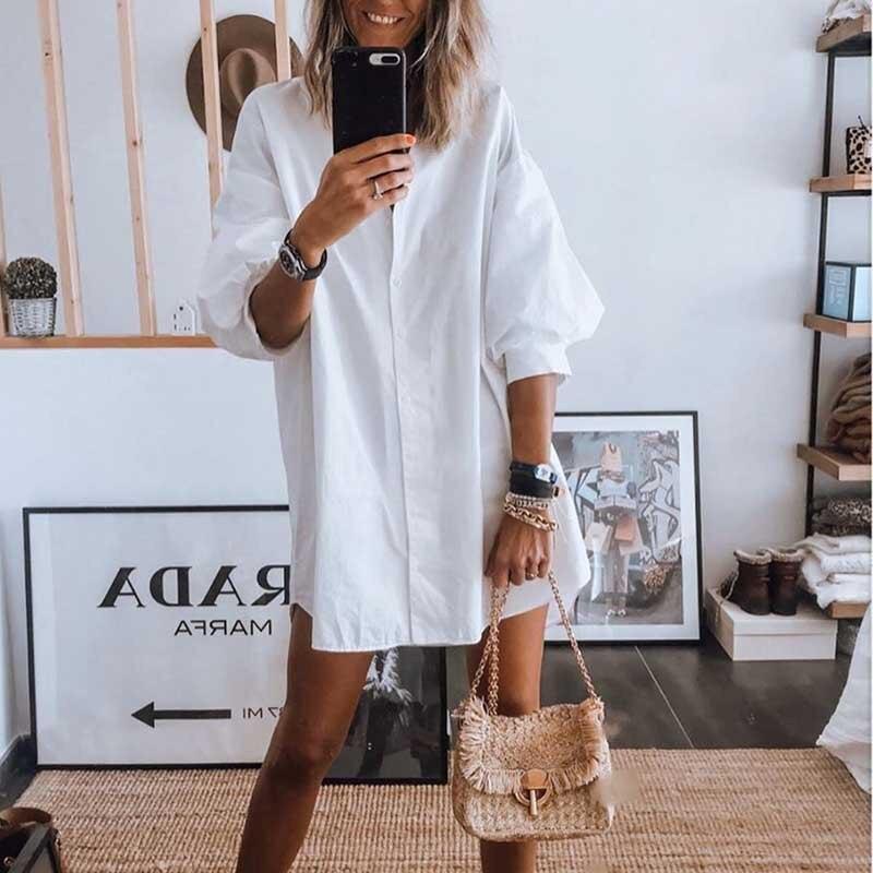 Осеннее белое платье рубашка с рукавами фонариками 2020 женское повседневное однобортное свободное платье зимнее женское офисное платье с принтом Vestidos|Платья|   | АлиЭкспресс