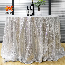 The Silver Elegant Round Sequin Tablecloth Table Cover Wedding Event