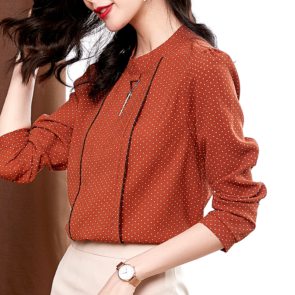 Fashion Polka Dot Shirts Blouses For Women Breathable Comfortable Soft Chiffon Shirts Business Tops Elegant Casual Women Shirts
