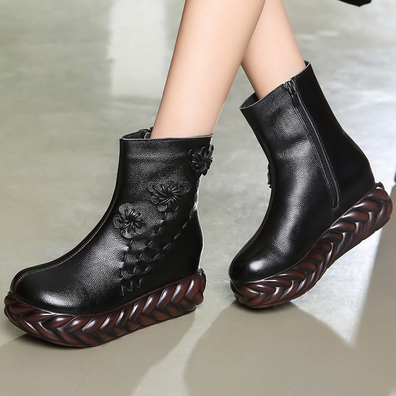 Image 5 - GKTINOO New 2020 Fashion Women Genuine Leather Boots Handmade  Vintage Flat Platform Ankle Botines Shoes Woman Winter botasAnkle  Boots