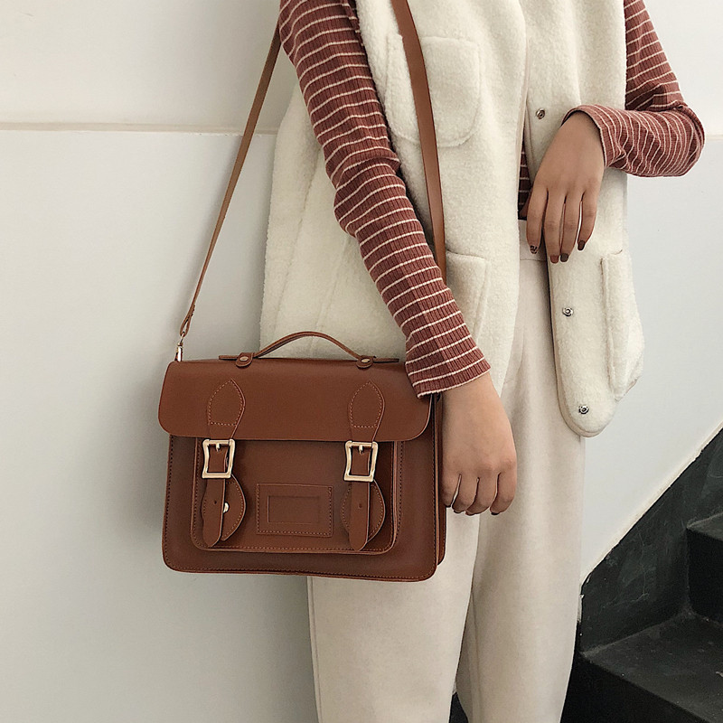 Korean Vintage Women Handbag Preppy Style Female Shoulder Bag Pu Leather Ladies Totes Girl Messenger Bags Bolsas Femininas Balck