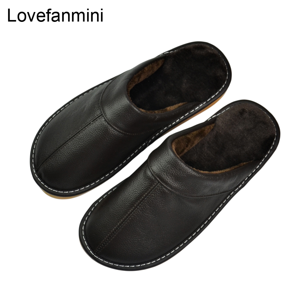 Genuine Cow Leather Slippers Couple Indoor Non-slip Men Women Home Fashion Casual Shoes PVC Soft Soles Winter 402