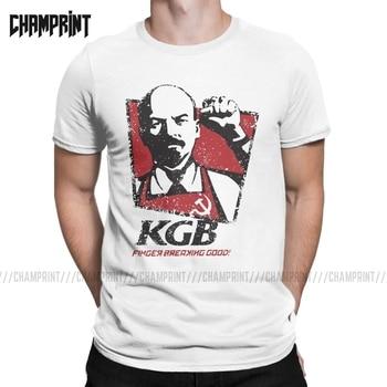 KGB Lenin The Soviet Union T-Shirts Men Communist Communism Ussr Marx Comrades Russia Pure Cotton Tee Shirt Short Sleeve T - discount item  40% OFF Tops & Tees