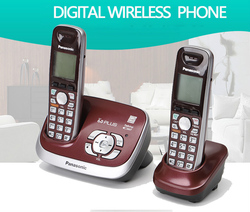 DECT 6.0 Plus Expandable Digital Cordless Phone Answering System with 2 Handsets Wine Red