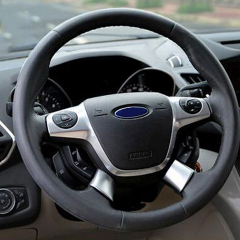 Zlord ABS Chrome Steering Wheel Cover Sequin Trim Sticker For Ford Focus 3 Mk3 Kuga Escape 2012 2013 2014 2015 2Pcs/Set