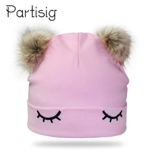 Baby Cap Eye Embroidery Double Pompom Hat For Girls Winter  Kids Cotton Bonnet