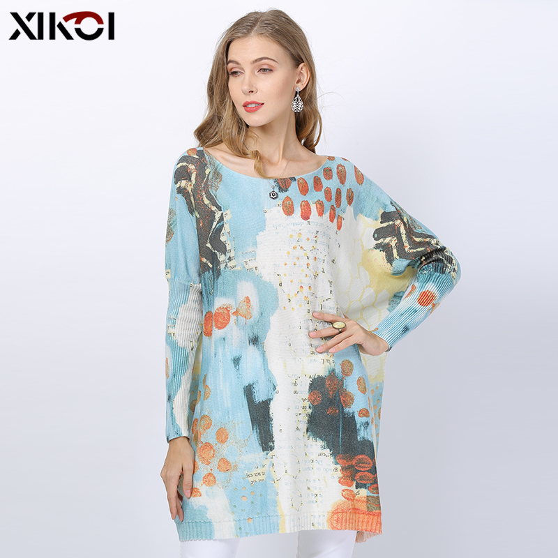 2019 Fashion Sky Blue Knitted Sweater Women Winter Jumper Patchwork Print Oversized Dress O-neck Wool Pull Femme Loose Pullovers