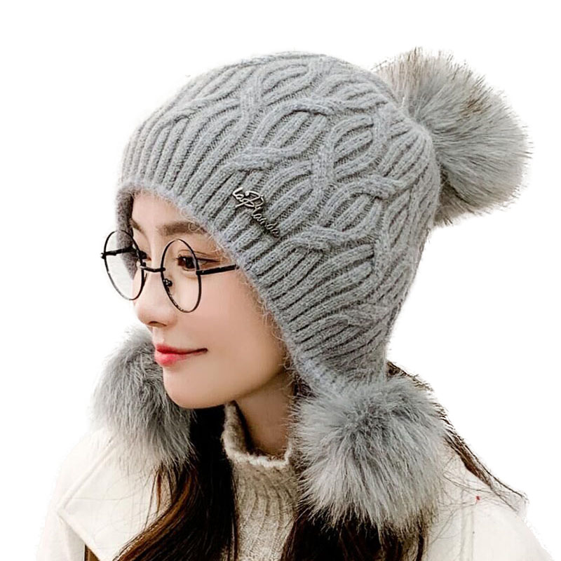 Winter New Women Casual Three Balls Rabbit Fur Hat Fashion Cute And Lovely Thick Beanie Warm Ear Protection Skullies Knitted Hat