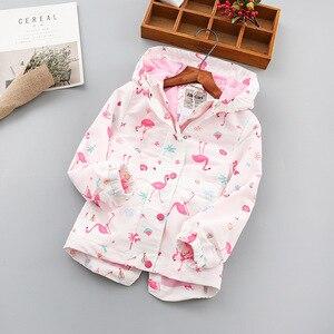 Image 3 - 패션 방수 후드 인쇄 어린이 코트 따뜻한 양 털 아기 소녀 자 켓 어린이 겉옷 아이 의상 90 150cm