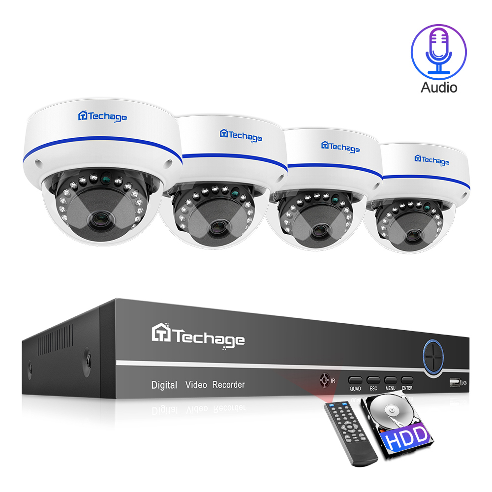 Techage 4CH 1080P Home Security 2TB HDD NVR 4pcs POE CCTV Camera System 2MP Audio Sound Outdoor IR Night Vision Surveillance Kit